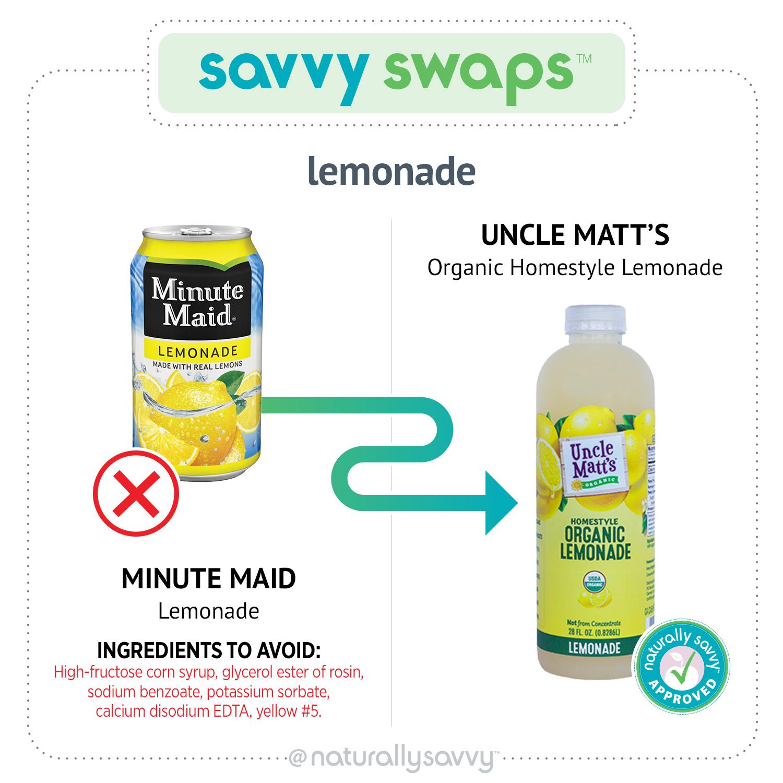 La limonade savante de Minute Maid et la limonade bio de Oncle Matt